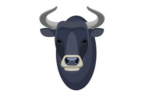 Bull head realistic icon muscular and aggressive male of cow