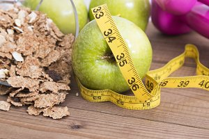 food healthy with tape measure about wooden ancient