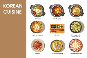 Korean cuisine flat vector collection of dishes on white.