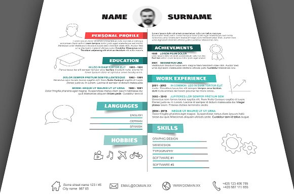 Horizontal Resume Template ~ Resume Templates ~ Creative Market