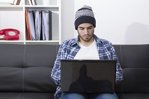 man hipster with laptop