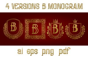 4 versions of B monogram