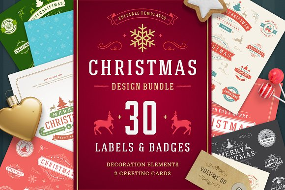Christmas 30 labels and bad-Graphicriver中文最全的素材分享平台