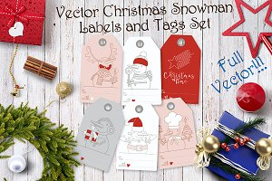 Vector Christmas Snowman Label Set