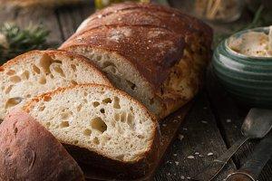 Ciabatta bread, rye, and rosemary
