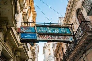 Old signboard over Havana street