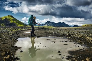 woman hiker in the mountains, Iceland