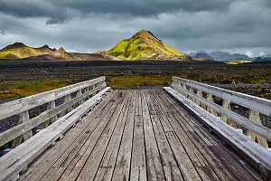 Wooden bridge over a river in ICELAND