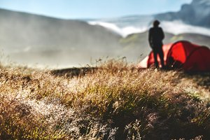 trekking in Iceland. camping with tents at morning