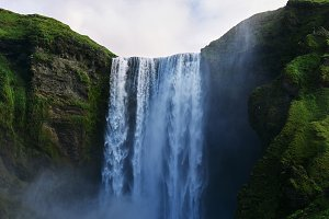famous Skogarfoss waterfall in southern Iceland