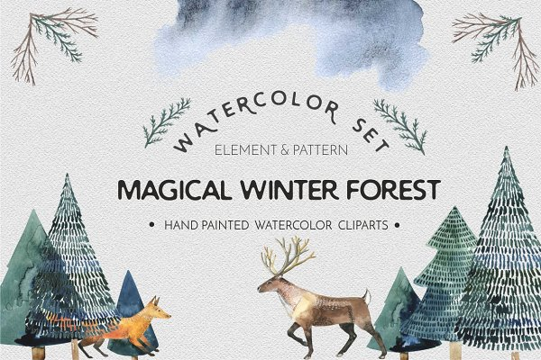 Watercolor set Magical winter fores…