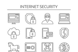Internet Security Linear Icon Set