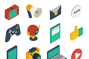 Media Isometric Icons Set