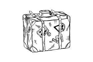 Old travel case engraving vector illustration