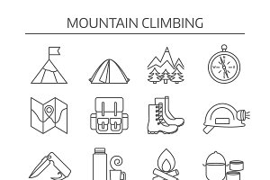 Mountain Climbing Linear Icon Set