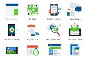 Digital Marketing Flat Icon Set