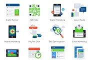 Digital Marketing Flat Icon Set