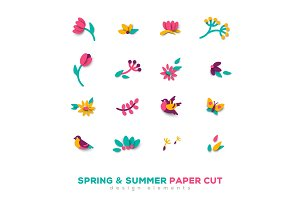 Summer and spring cute paper cut design elements
