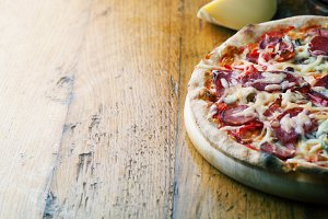 Delicious pizza with salami