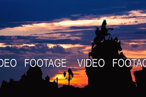 Timelapse of beautiful sunset at Saint Petersburg city historical center , Russia
