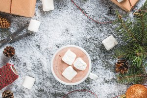 Christmas background with hot choco
