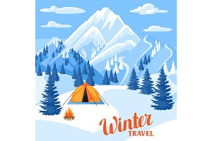 Winter trawel illustration. Beautiful landscape with camp, snowy mountains and fir forest