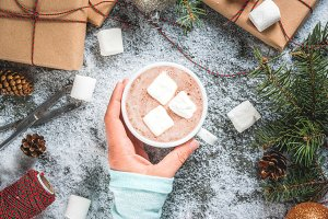 Girl drink hot choco, Xmas gifts