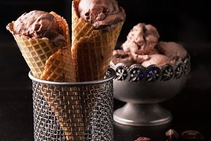 Delicious chocolate ice cream