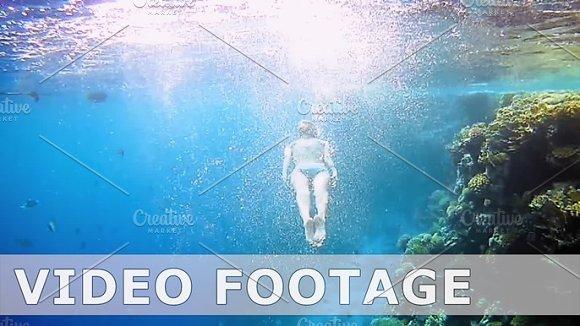 Woman Dive Underwater In Snorkeling Diving Mask