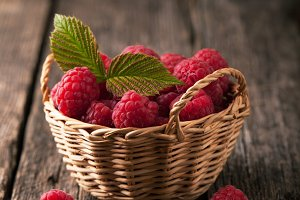 Ripe fresh raspberries
