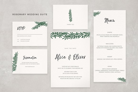Rosemary Wedding Suite Invitation Templates Creative Market