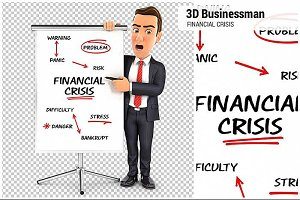 3D Businessman Financial Crisis