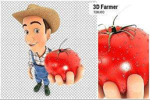 3D Farmer Holding a Fresh Tomato