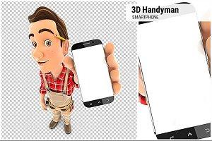 3D Handyman Holding Smartphone