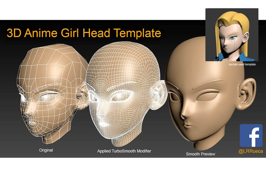 low poly head templates pack 3d people models creative market
