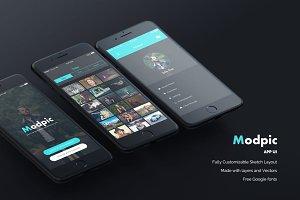 Modpic App UI Mockup Sketch file