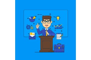 Public speaking concept. Orator speaking from tribune and icons. Business conference flat style illustration