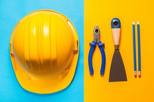 Construction tools, colorful