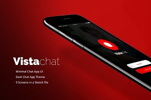 Vistachat Dark App UI sketch file