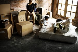 African family unpacking things