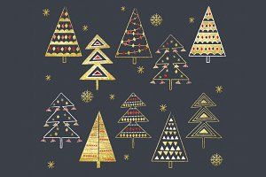 Gold Glitter Christmas Tree Set