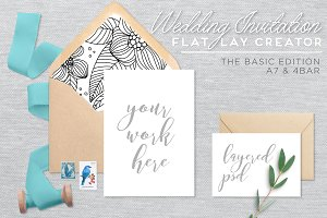 Wedding Invitation Mockup - Flat Lay