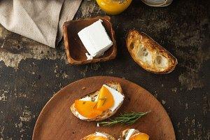 Ciabatta Bread with persimmon