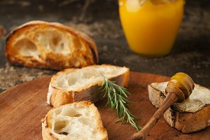 Ciabatta bread with honey