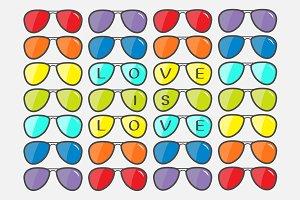 Sunglasses set with rainbow lenses