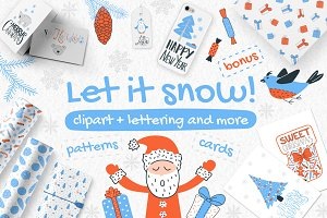 Let It Snow! - clipart&lettering set