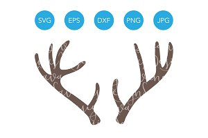 Deer Antlers SVG Cut Files & Clipart