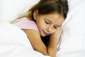 Young girl is sleeping