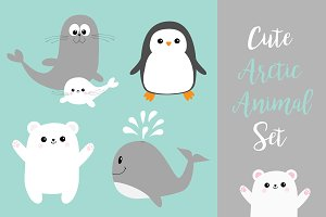 Arctic polar animal icon set.