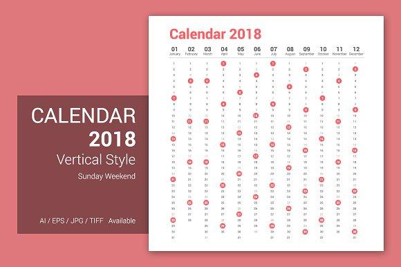 Calendar 2018 Vertical Design
